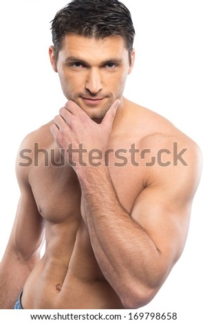 Handsome young man with naked torso - stock photo