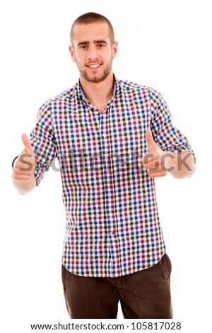 handsome young man with thumbs up on an isolated white background