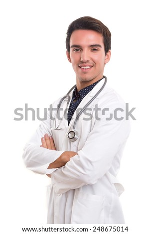 Handsome young medic posing isolated over a white background - stock photo