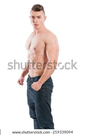 Handsome young stud shirtless isolated on white background - stock photo