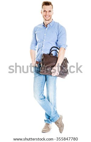 Handsome young student with laptop bag - isolated on white background - stock photo