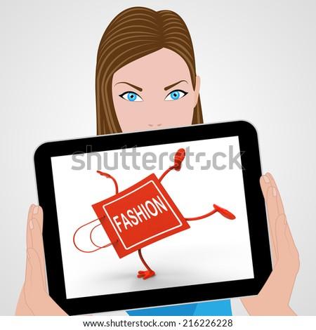 Handstand Fashion Shopping Bag Displaying Fashionable Trendy And Stylish - stock photo