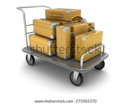 Handtruck and Suitcases (clipping path included) - stock photo