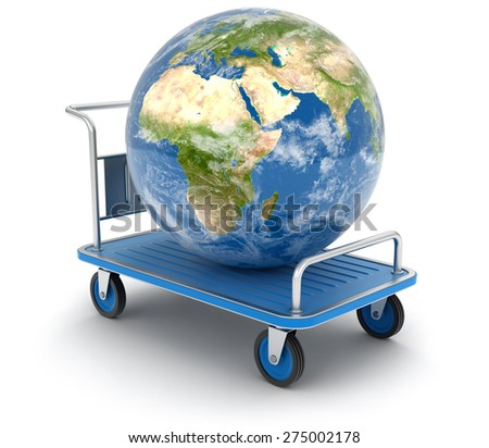 Handtruck with Globe (clipping path included) Elements of this image furnished by NASA - stock photo