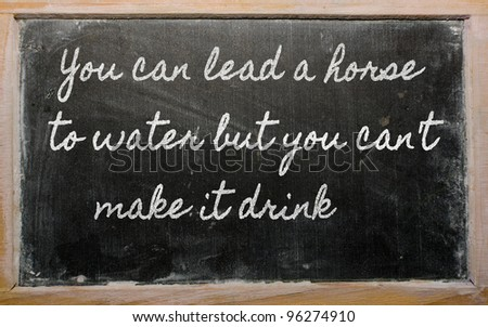 handwriting blackboard writings - You can lead a horse to water but you can't  make it drink - stock photo