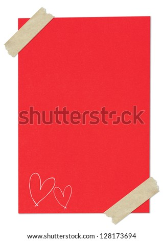Handwriting heart shape on red paper with tape
