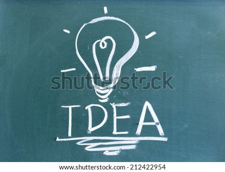 handwriting light bulb and idea concept on blackboard