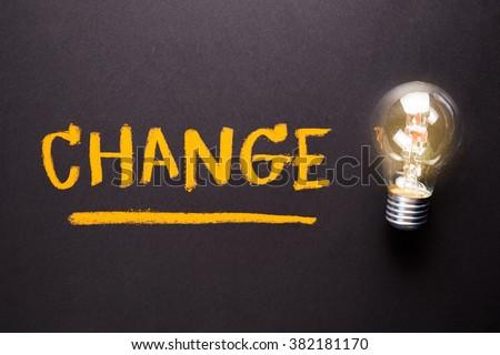 Handwriting of Change word on chalkboard with glowing light bulb - stock photo