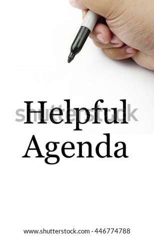 "Handwriting of ""helpful agenda"" with the white background and hand using a marker."