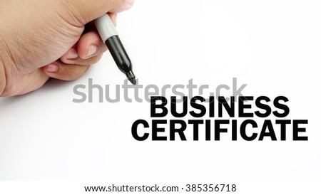 "Handwriting of word that related to business "" business certificate """