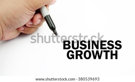 "Handwriting of word that related to business "" business growth "" ."