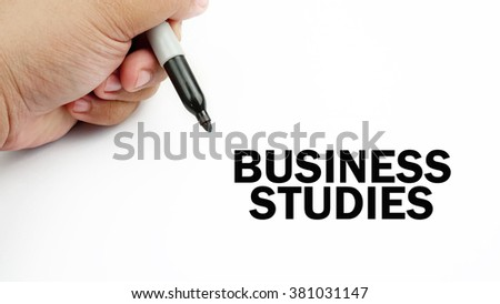 "Handwriting of word that related to business "" business study """