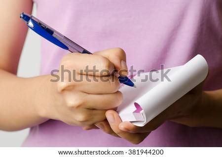 Handwriting,woman writing and planing - stock photo