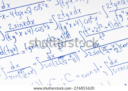 Handwritten calculation of higher mathematics as a background - stock photo