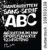 Handwritten grunge sans-serif alphabet. Raster version. - stock photo