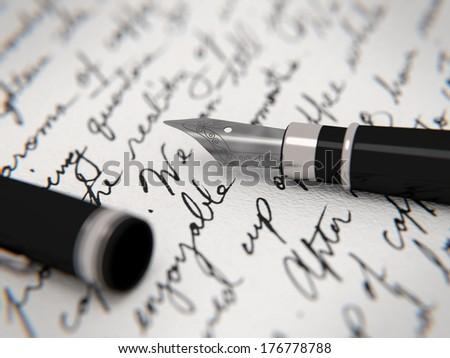 Handwritten letter and fountain pen - stock photo