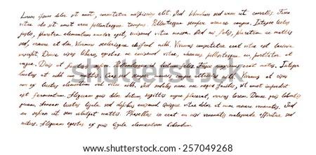Handwritten letter - latin text Lorem ipsum written by brown ink - stock photo