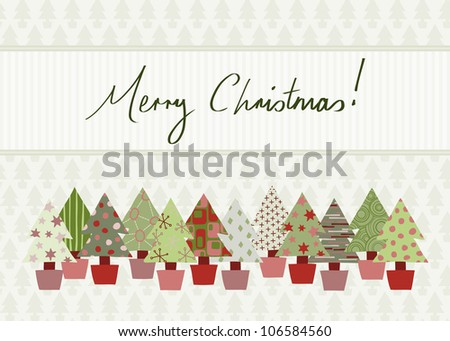 Handwritten Merry Christmas Card in traditional color scheme with hand-drawn Christmas tree design. Raster Version. - stock photo