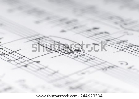 Handwritten musical notes, shallow DOF - stock photo
