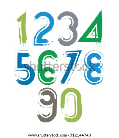 Handwritten numbers isolated on white background, painted modern numbers set with white outline. - stock photo