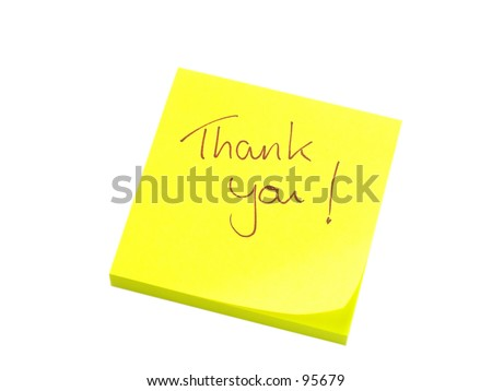 Handwritten thank you on yellow note paper - stock photo