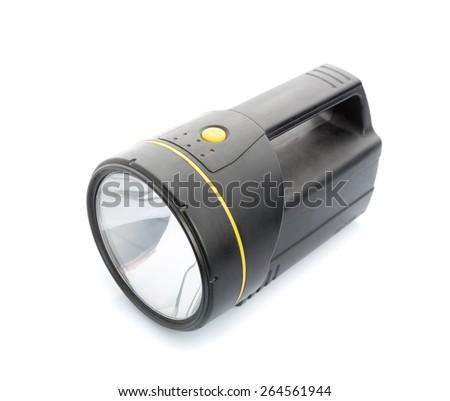 Handy flashlight isolated on white - stock photo