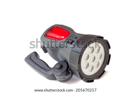 Handy little battery electric torch black. Presented on a white background.