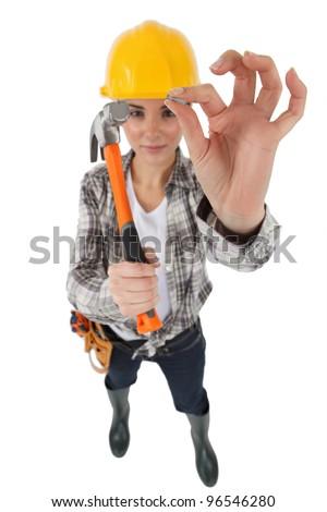 Handy woman - stock photo
