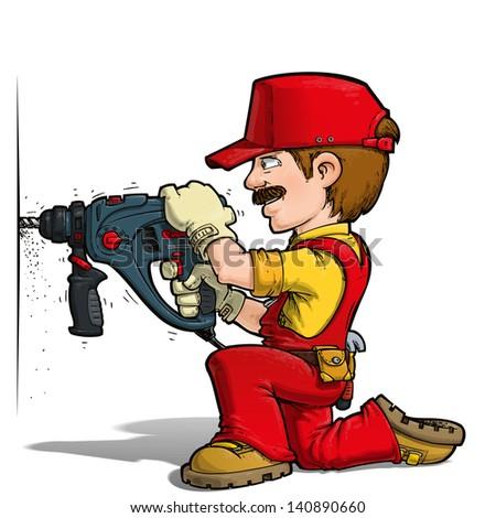 Handyman - Drilling Red - stock photo