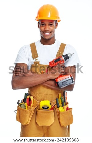 Handyman isolated over white background. House renovation - stock photo