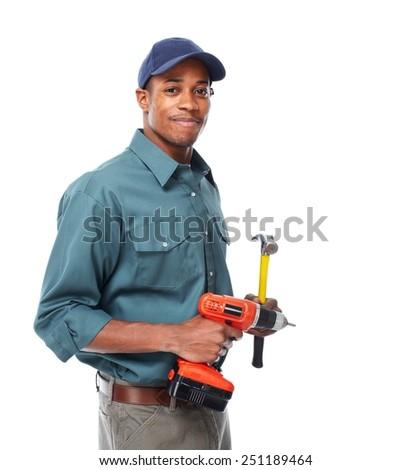 Handyman isolated over white background. House renovation - stock photo