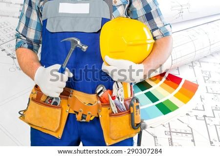 Handyman, men, belt. - stock photo