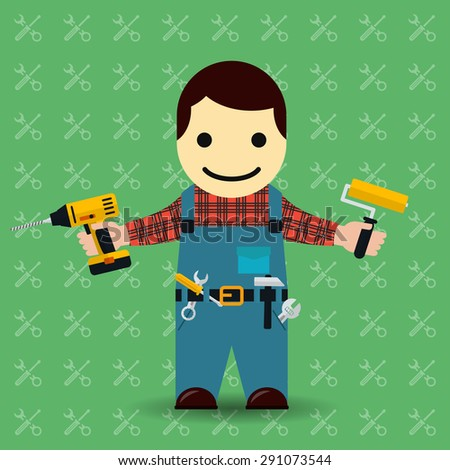 Handyman or mechanic illustration. Worker and tools, repairman and service - stock photo