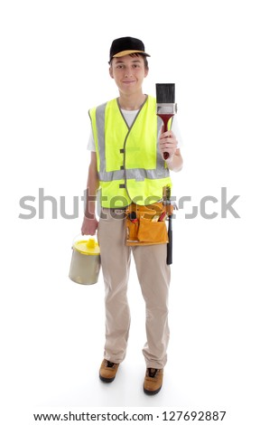 Handyman or painter ready for work.  White background.