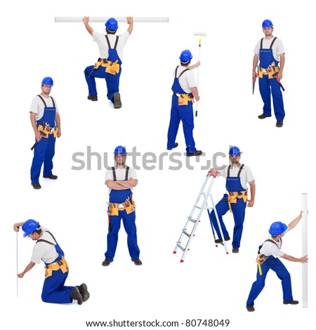 Handyman or worker in different working positions - isolated, collage - stock photo
