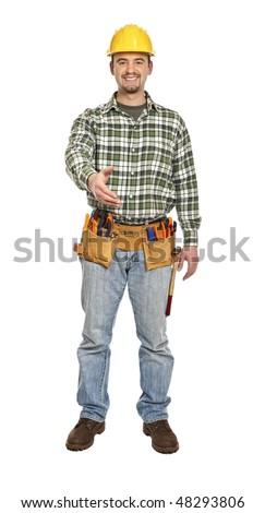 handyman shake hand gesture isolated on white background - stock photo