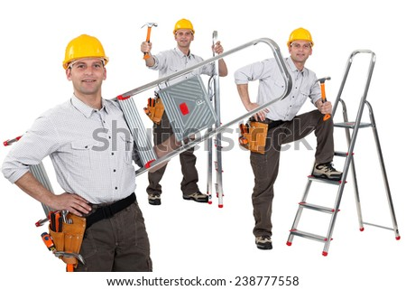 Handyman with a ladder - stock photo