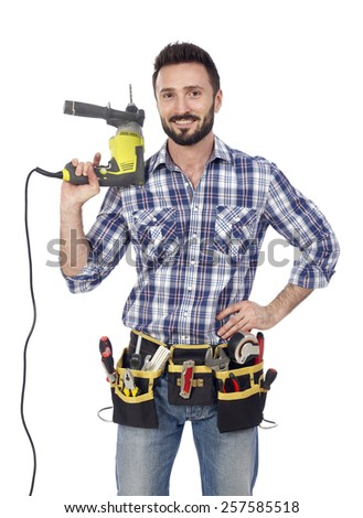 Handyman with drill - stock photo