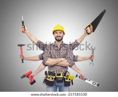Handyman with tools - stock photo