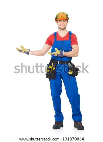 Handyman with tools full portrait over white background - stock photo