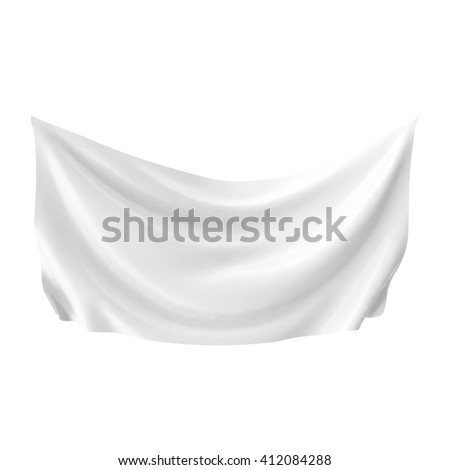 Hang down white blank cloth banner isolated on white background. 3D illustration
