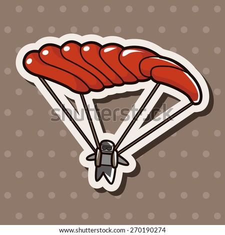 Hang gliding, cartoon stickers icon - stock photo
