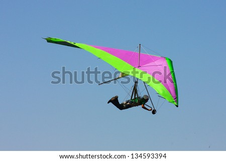 Hang gliding in Crimea taken in summer, Ukraine - stock photo