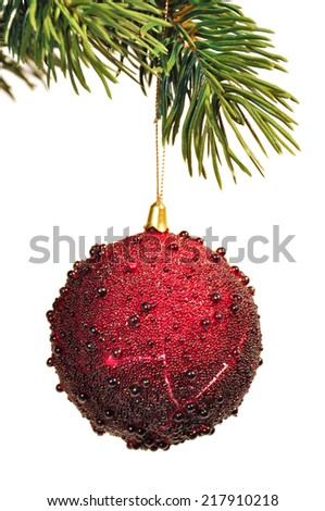 hang up red christmas decoration - stock photo