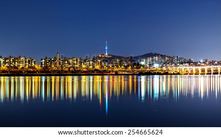 Hangang in Seoul at night - stock photo