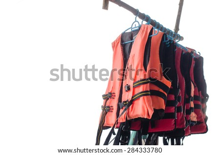 Hanged life jacket isolated on white background