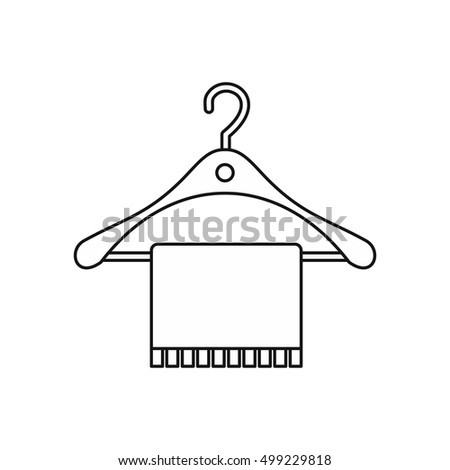 Hanger and towel icon in outline style isolated on white background. Bathroom symbol  illustration