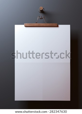 hanger with blank folded paper sheet - stock photo