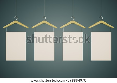 Hangers with blank tags on black background. Mock up, 3D Render - stock photo