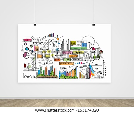 Hanging banner with business plan, graphics and diagrams - stock photo